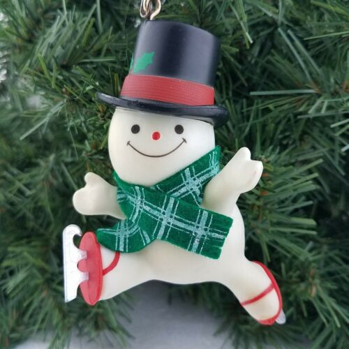 Vintage Frosty Snowman with hat, scarf Ice Skating Christmas Ornament