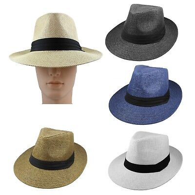 Gelante Summer Wide Brim Fedora Panama Straw Hats With Black Band (Ship in BOX)](Fedora Black)