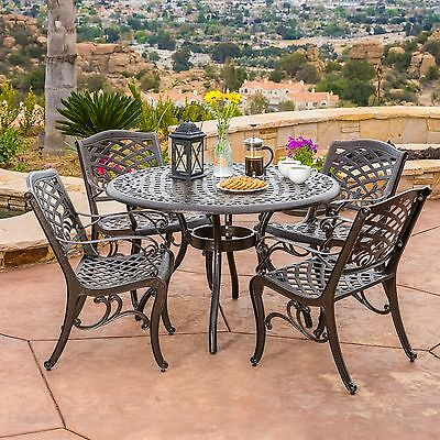 Outdoor Patio Furniture 5pcs Bronze Cast Aluminum Dining Set