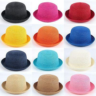 Women Adults Kids Children Girls Bowler Cap Derby Hat Bucket Cloche Straw Sunhat - Kids Derby Hats