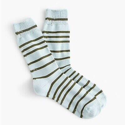 BL8974 J. Crew Trouser Socks in Stripe, Cloudless Sky, One Size NEW