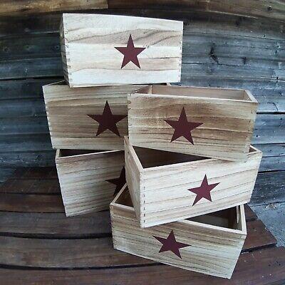 Cajas contenedoras estrella madera decoracion vintage 6 unidades - Orden en casa