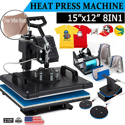 8in1 Dual Heat Press Machine Digital Transfer Sublimation Mug T-shirt Swing Away