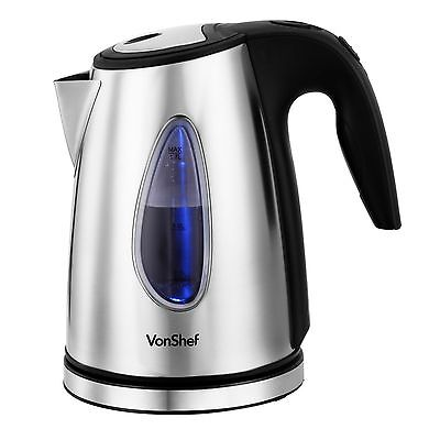 VonShef 1.7 Litre Cordless Electric Tea Coffee Kettle Brushed Stainless Steel
