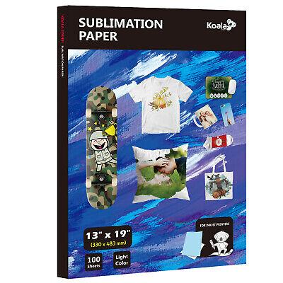 Koala 100 Sheet 13x19 Dye Sublimation Inkjet Heat Transfer Paper T-shirts Mugs