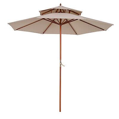 Outsunny Garden Wood Wooden Patio Parasol Sun Shade Outdoor Umbrella Canopy