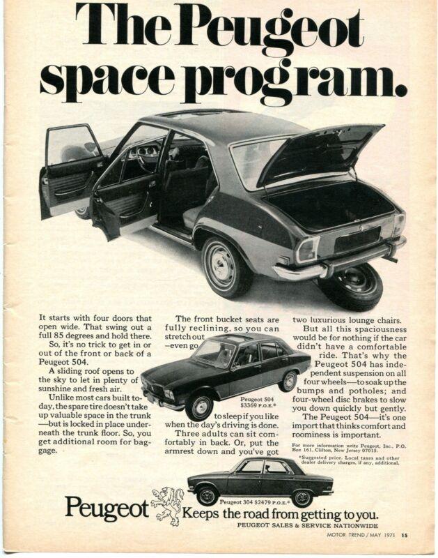 1971 Peugeot 504 & 304 Sedans Space Program Print Ad