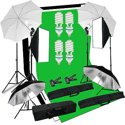 Photo Studio Continuous Softbox Umbrella Lighting Kit Backdrop Light Stand Set