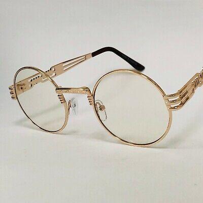 Men's  Clear Lens Eye Glasses Sunglasses Elegant Classy Style Round Gold (Clear Glass Sunglasses)
