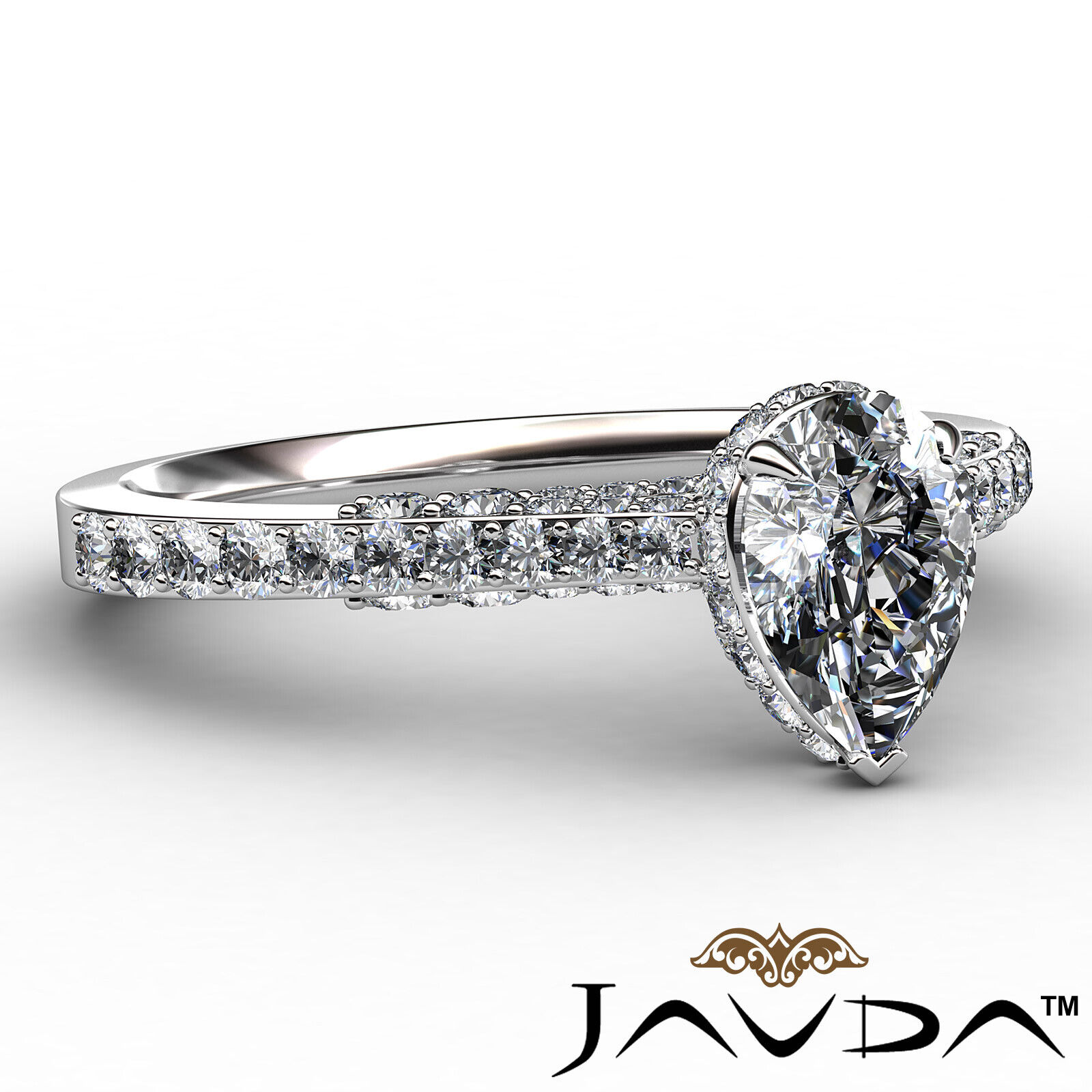 Pear Diamond Engagement Pave Ring GIA Certified H Color & VS2 clarity 1.06 ctw 6