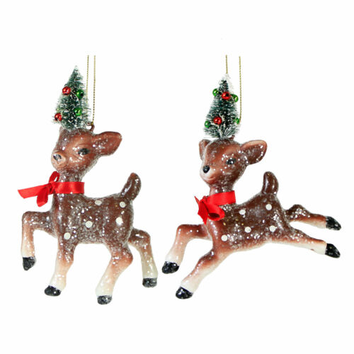 Set/2 Reindeer Brown Deer Bottle Brush Forest Christmas Tree Ornaments Vtg Decor