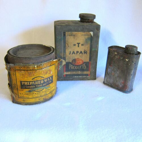 1930s Vtg Lot of 3 Tin Cans Johnsons Wax and Foys T Japan Paint Drier and Canco