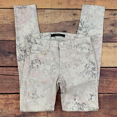 J Brand 620 Mid Rise Super Skinny Stretch Jeans Floral Pink White Ghost Rose 25