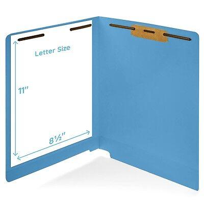 50 Blue End Tab Fastener File Folders- Reinforced Straight Cut Tab- Durable 2...