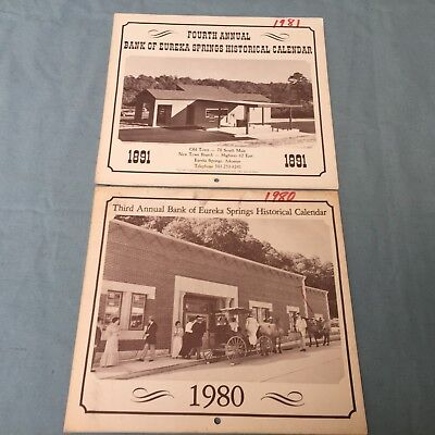 VINTAGE EUREKA SPRINGS CALENDAR 1980 1981 1890 1891 PHOTO HISTORY 3RD 4TH ANNUAL