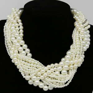 Luxury Multi Layer String Twist Faux Pearl Chunky Choker Bib Statement Necklaces