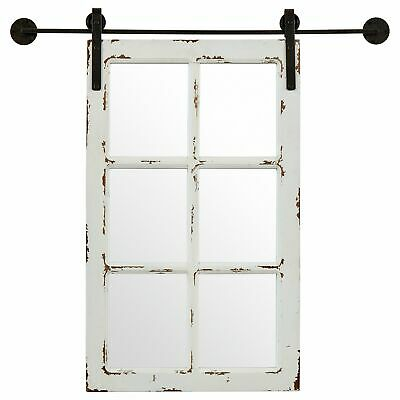 Vintage Sliding Window Mirror Wall Mount Classic Rustic Living Room Decor White ()