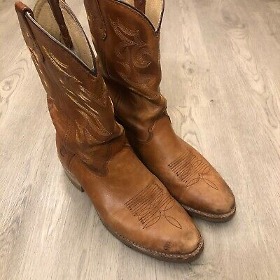 Double H Mens Brown Leather Cowboy Western Boots Size 14 USA Made
