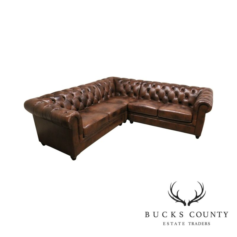 Brown Leather Chesterfield Tufted Sectional Sofa by Abbyson Living