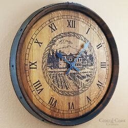 Old Winery Engraved Wine Barrel Clock Large Wall Rustic Furniture Handmade Decor