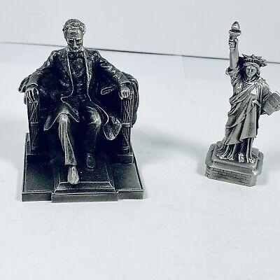 Abraham Lincoln Memorial & Liberty statue Vtg 1970s Washington DC NYC New York