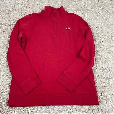 Vineyard Vines Red 1/4 zip Pullover Shirt Boys Large 16/18 Cotton