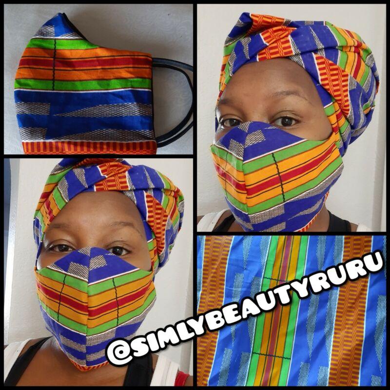 Kente Blue African Print Ankara Face Mask & Headwrap Set Multi Color