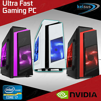 Computer Games - Gaming PC Quad Core Intel i7 Computer SSD 4-16 GB RAM GT GTX GFX Windows 10 WiFi