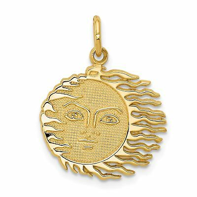 14k Yellow Gold Flaming Sun Charm Pendant - -