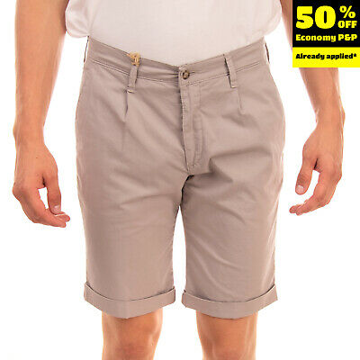 BRIGLIA 1949 Chino Shorts Size 47 Stretch Pleated Turn-Up Cuffs Made in Italy