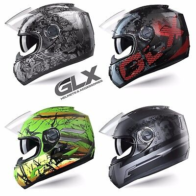 GLX DOT Approved Full Face Motorcycle Helmet Street Bike Dual Visor Color -