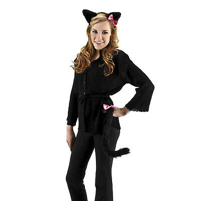 Adult or Kids Cute Black Kitty Cat Neko Cosplay Salem Costume Ears Headband Tail - Cute Kitty Costumes