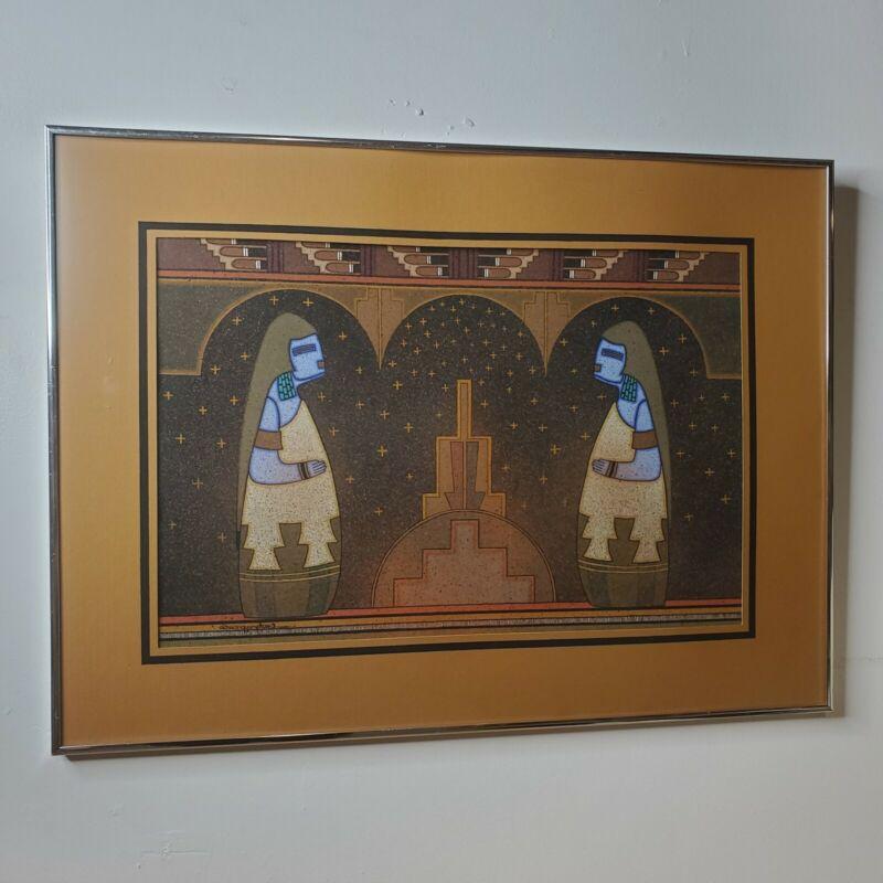 Signed 27x20 Art Print by David Dawangyumptewa Hopi Large Framed Southwest