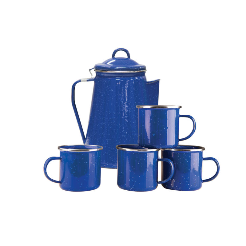 STANSPORT BLUE 8 CUP ENAMEL COFFEE POT WITH PERCOLATOR AND 4 12 OZ MUGS CAMPING