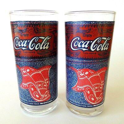 Set of 2 Vintage Coca Cola McDonald's Blue Jeans Coke Denim Collection Glasses