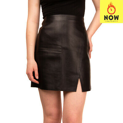 RRP €910 BELSTAFF Leather A-Line Skirt Size 42 / M Split Front Made in Italy