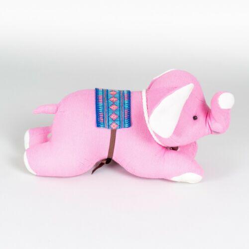 Handmade+Pink+Linen+Textile+Elephant+Handmade+Stuffed+Soft+Plush+Toy+New+%236262