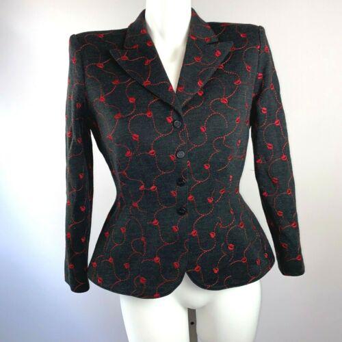 Vtg 90s Thierry Mugler Gray Blazer Embroidered Red Leaf Wool Blend Size Medium