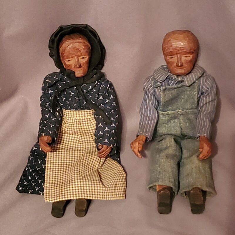 VTG Antique Pleasant Hill Academy Carved Wood Primitive Appalachian Dolls Pair