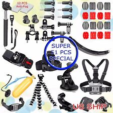 51in1 Head Chest Mount Monopod Accessories Kit For GoPro Hero 2 3 4 5 Camera