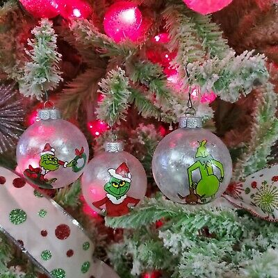 The Grinch Hand painted Set of 3 Glass Frosted Ball Christmas Ornaments #2 ()