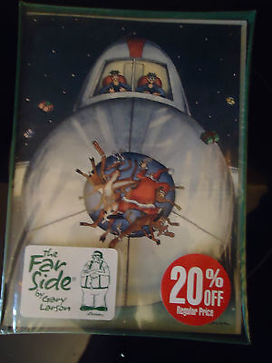Vintage greeting cards paper collectibles for sale 88040 the far side by gary larson christmas cards airplane hitting santa 1989 m4hsunfo