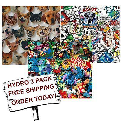 Hydro Dip Hydrographic Film Water Transfer Printing Film Kiddie 3 Pack