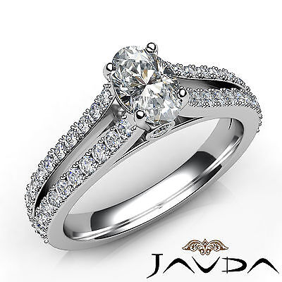 Split Shank Oval French V Pave Diamond Engagement Bezel Ring GIA E VS1 1.15 Ct