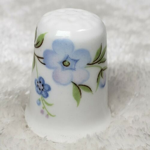 VINTAGE CROWN STAFFS ENGLAND PORCELAIN DISPLAY THIMBLE Blue Flower