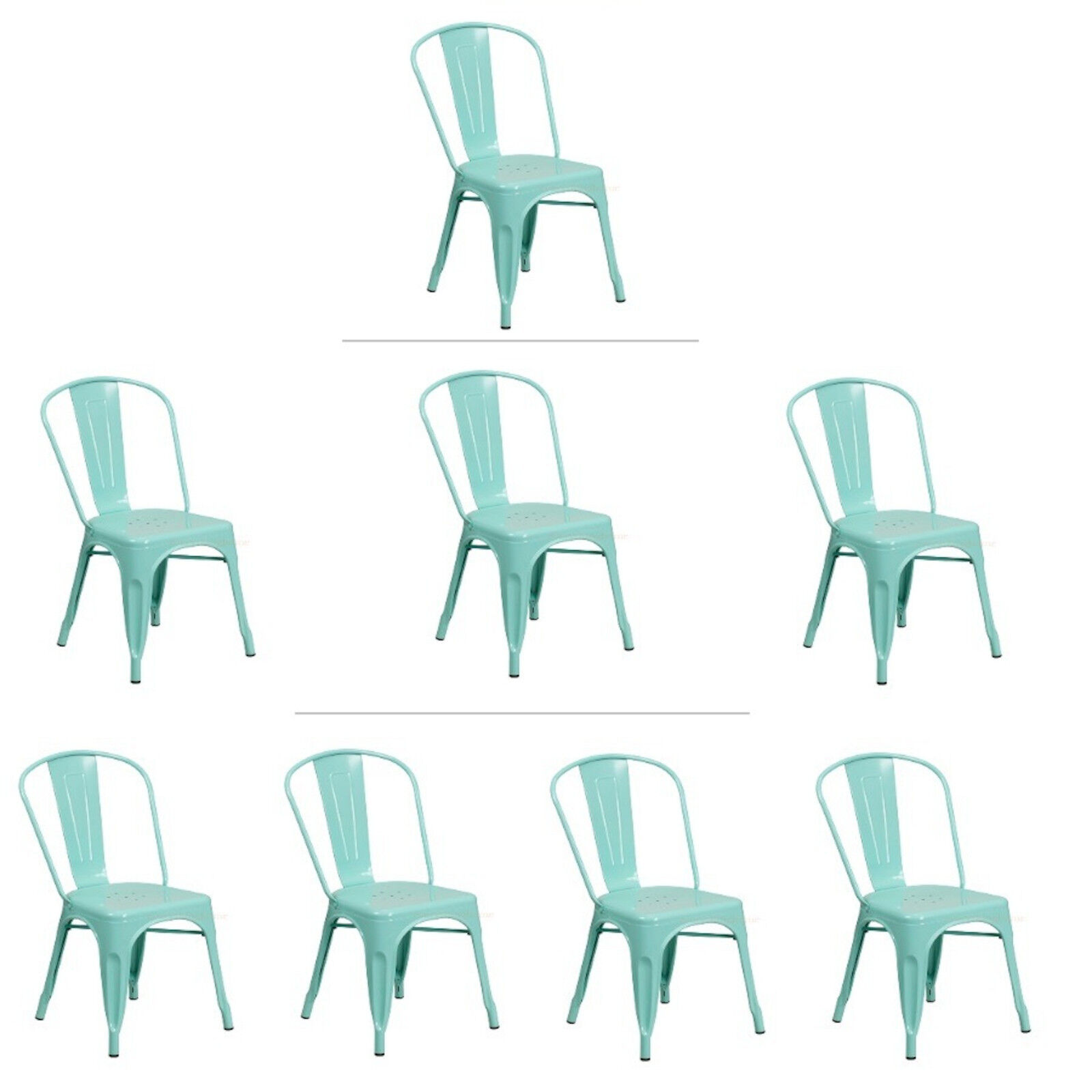 mint green tolix style metal stack industrial chic dining chair 1 3 or 4 qty