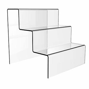 3 STEP CLEAR ACRYLIC JEWELLERY DISPLAY STAND RETAIL SHOP TIER NAIL VARNISH RISER