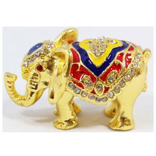 Bejeweled Enameled Animal Trinket Box/Figurine With Rhinestones- Tiny Elephant