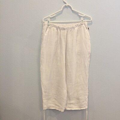 Match Point Natural Khaki Linen Capri Pants Medium New USA MADE