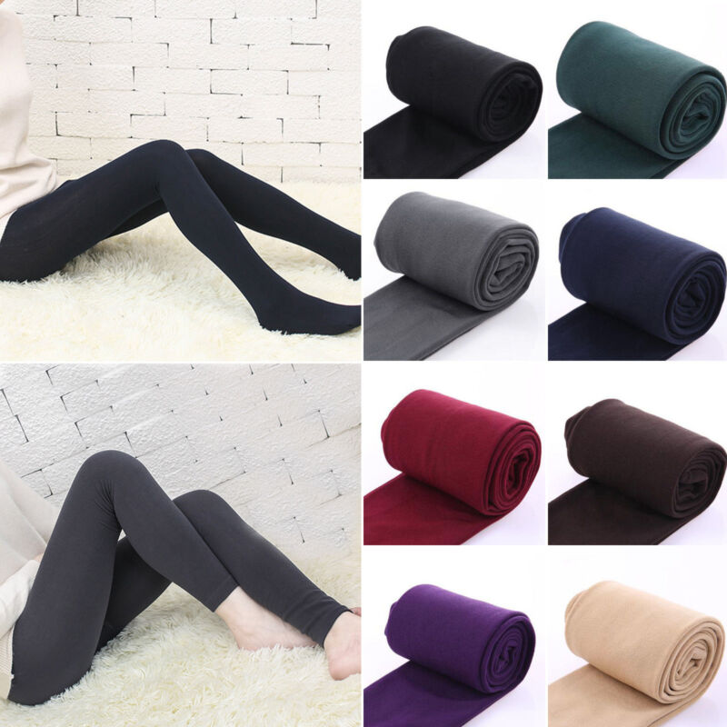 Women Fleece Lined Warm Thick Thermal Full Foot Tights Ladie